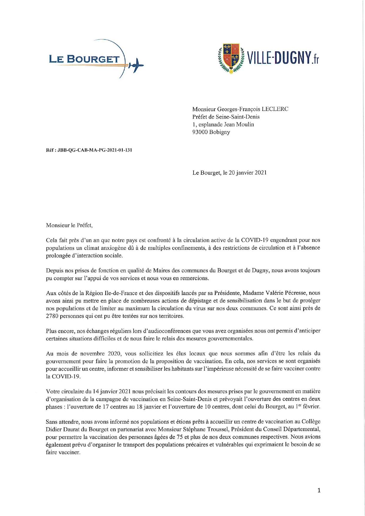 Lettre commune du Bourget et Dugny au Préfet de Seine-Saint-Denis
